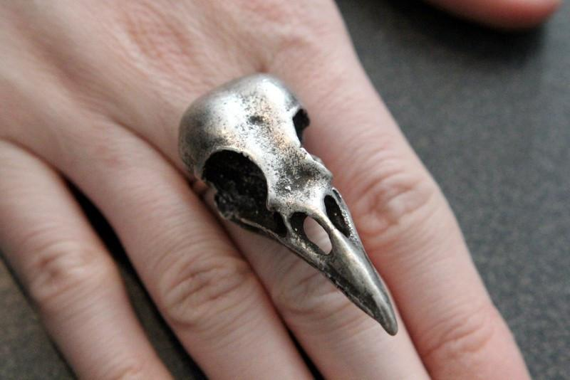 Titanium Crow Skull Ring