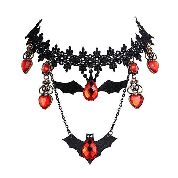 Red Stones Bats Choker Necklace
